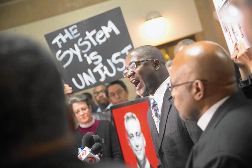 Demonstrators outside Chicago Mayor Rahm Emanuel's office