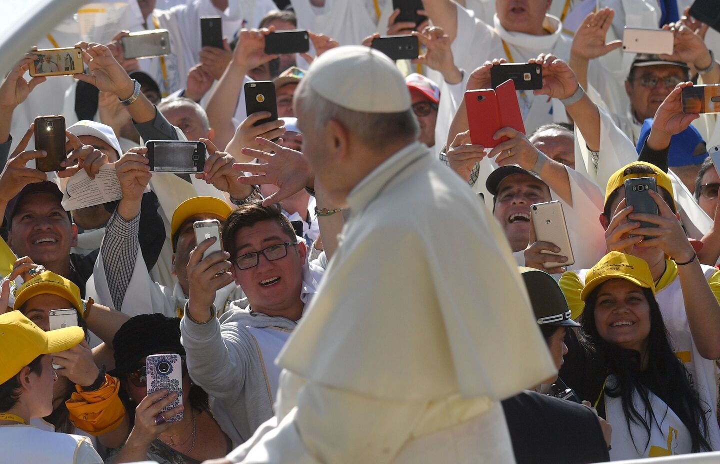 Pope Francis arrives to lead Mass at O'Higgins Park in Santiago, Chile, on Tuesday.