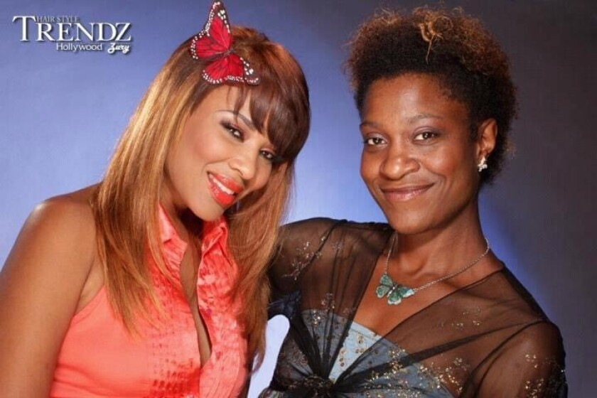 Left to right Karen Lowe shows off her new hairdo by stylist Imani Robinson