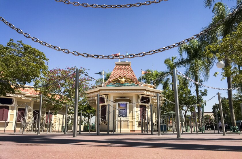 Ticket booths sit empty at Disneyland in Anaheim on Sept. 20.