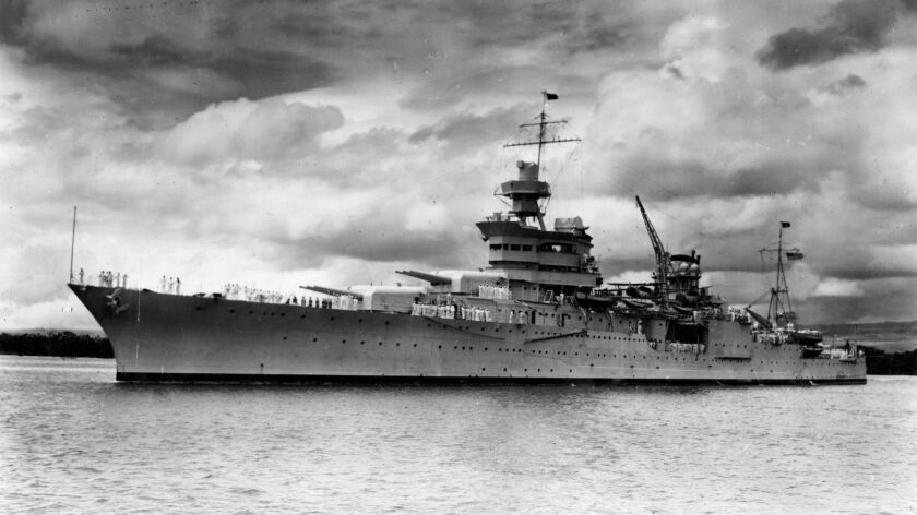 The U.S. Navy cruiser Indianapolis in Pearl Harbor in 1937.