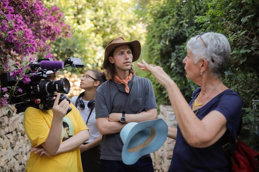 Director Andrew Norbeck, with two of his Jerusalem Film Workshop crew, and Pnina, the main character in 'Queen of Ein Kerem,' part of Program 5, Sept. 22, 2019.