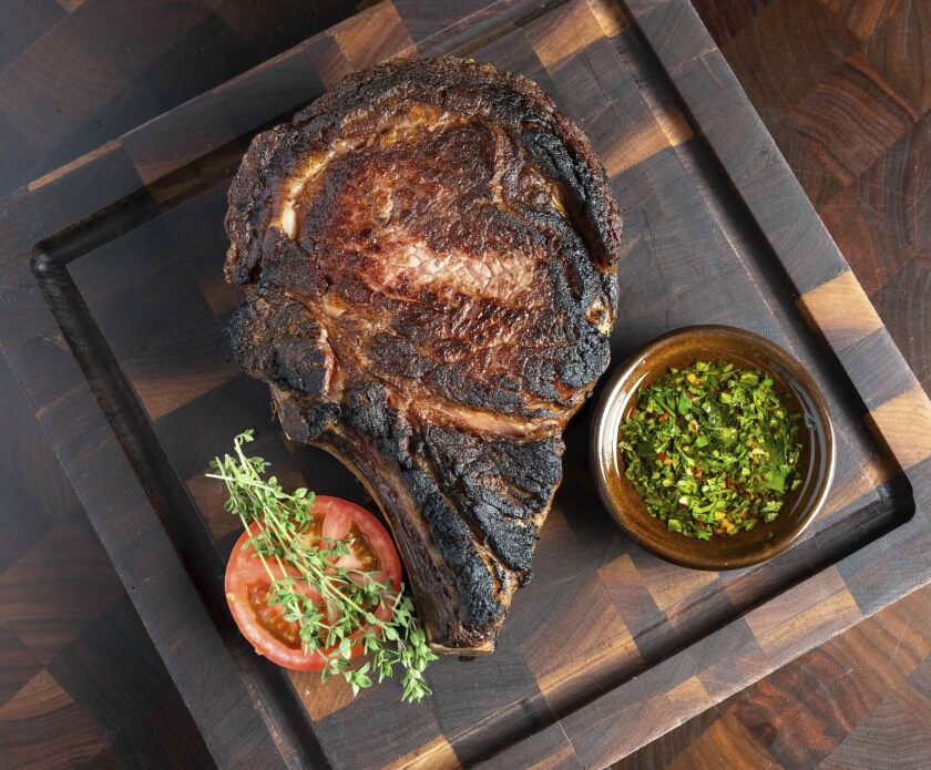 The dry-aged, 45-day, bone-in ribeye at Lou & Mickey's is a thing of beauty, not funk.