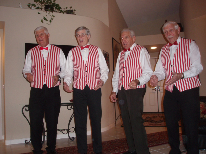 The Music Men Barber Shoppers from left to right, Charlie Wendt, tenor; Chuck Youde, lead; Tom Redler, bass and Tal Klaus, baritone.