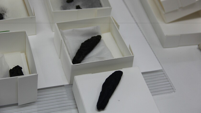The charred scroll from En-Gedi with its facsimile, which was 3-D-printed from the micro-CT scan that led to the discovery of the biblical text inside.