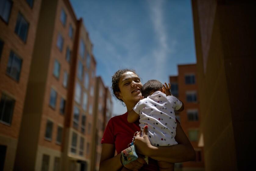 BOGOTA, D.C. -- WEDNESDAY, MAY 1, 2019: Kimberlyn Suarez Villegas, 24, and her son, Estheban, 2, liv