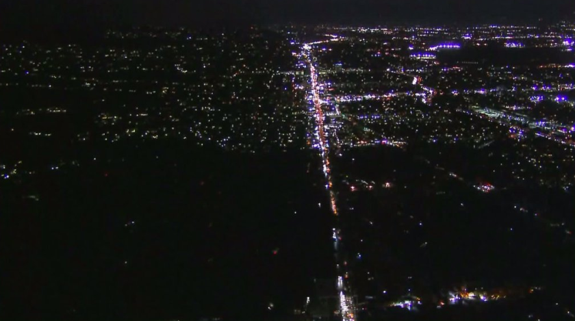 Thousands of customers lost power Wednesday night, leaving streets and homes in the Studio City area in the dark, bottom. There was no timetable for when electricity would be fully restored, according to the DWP.