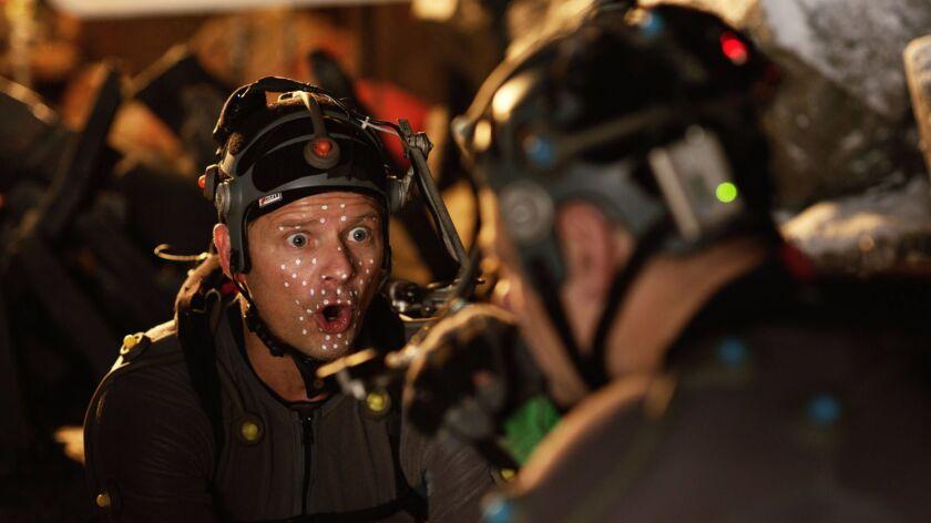 Steve Zahn, who plays Bad Ape, wears motion-capture gear on the set.