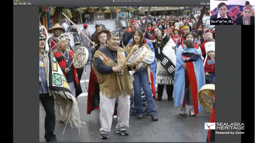 This Nov. 5, 2020, photo provided by the Sealaska Heritage Institute shows a Zoom memorial service for Tlingit elder David Katzeek, conducted by the Institute, showing highlights of Katzeek's life as people honored him over the internet as the pandemic had made in-person ceremonies impossible. (Sealaska Heritage Institute via AP)
