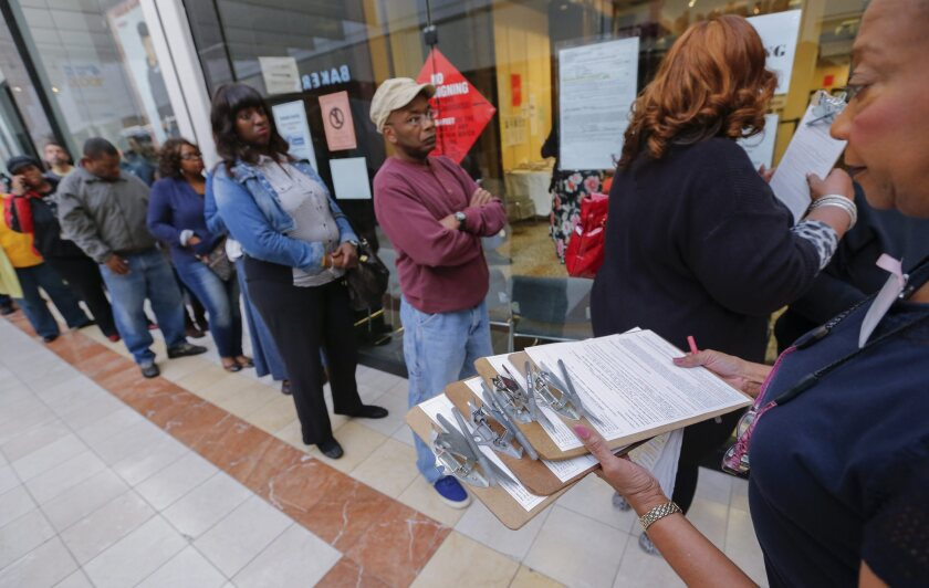 The line starts here: Georgia voters taking advantage of early voting rules this week.