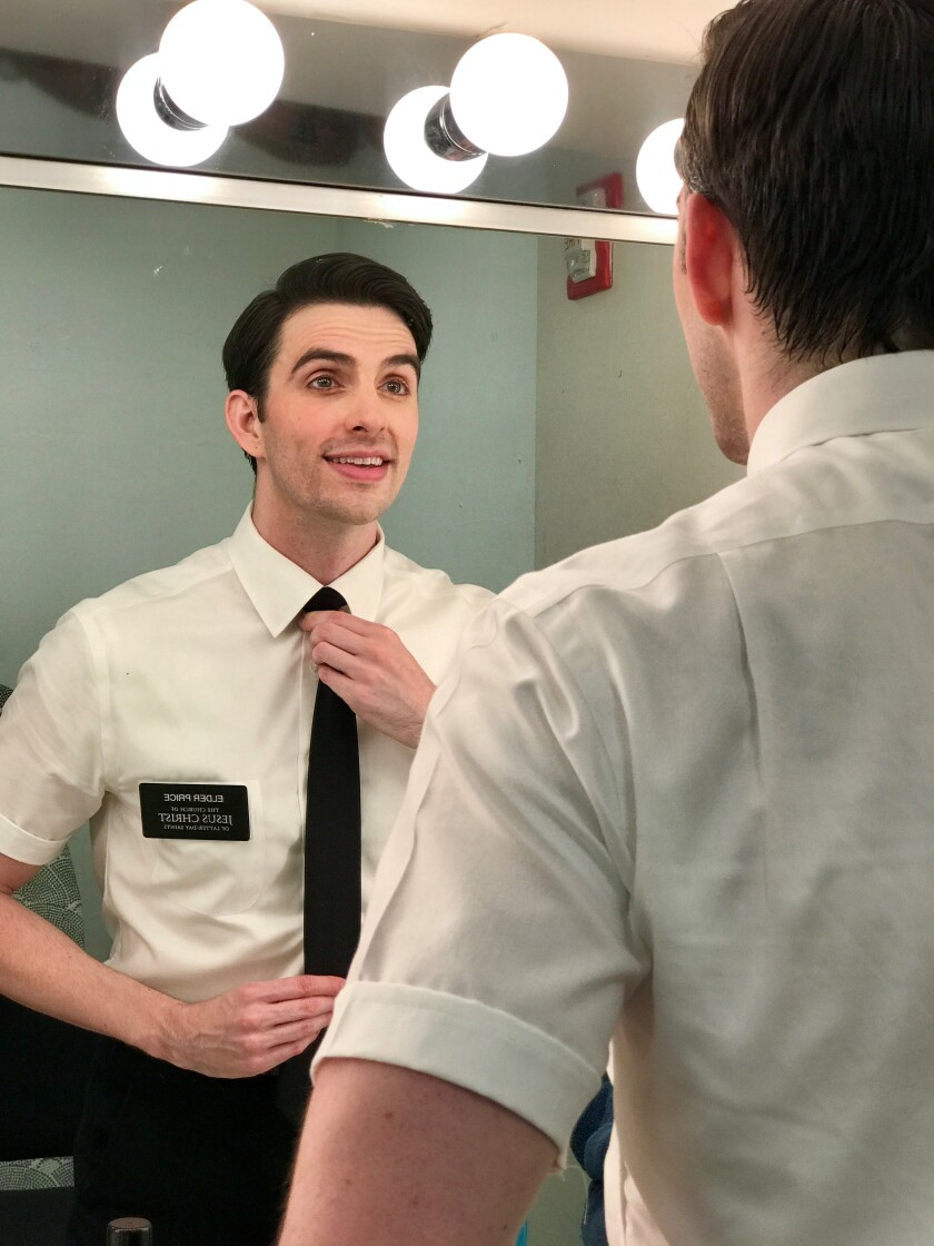 "Actor Luke Monday, an Oceanside resident, is the standby Elder Price in the touring production of ""Book of Mormon."""