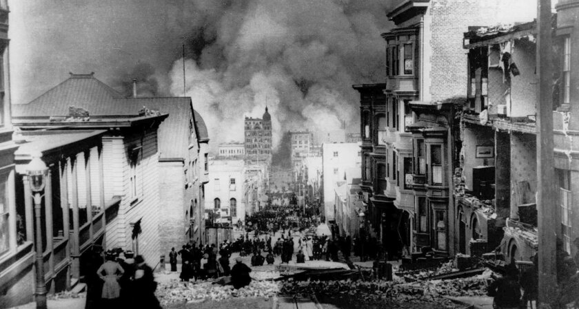 Fires break out in San Francisco on April 18, 1906, after a 7.8 magnitude earthquake struck the city.