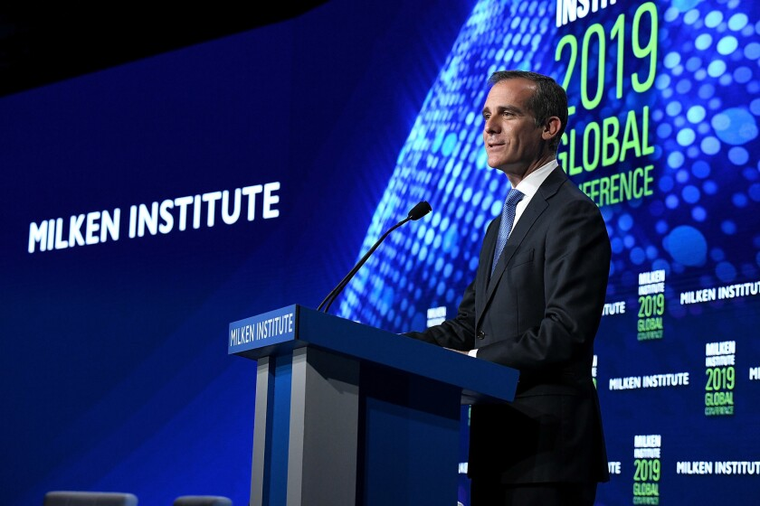 Los Angeles Mayor Eric Garcetti speaks at the Milken Institute Global Conference in April 2019 in Beverly Hills.