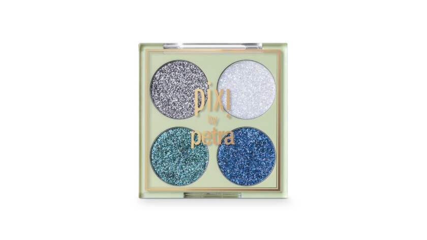 Glitter-y Eye Quad from Pixi Beauty comes in shades of blue pearl and silver. $14 pixibeauty.com Cr