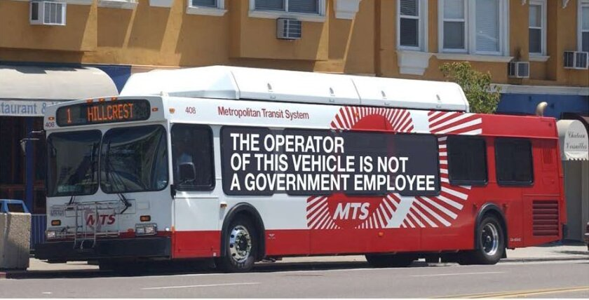 A state Senate bill would require agencies to write a disclaimer on vehicles driven by private contractors. One version of the bill called for the message to be larger than any other writing on the vehicles, as shown on this photo illustration provided by the San Diego Metropolitan Transit System.