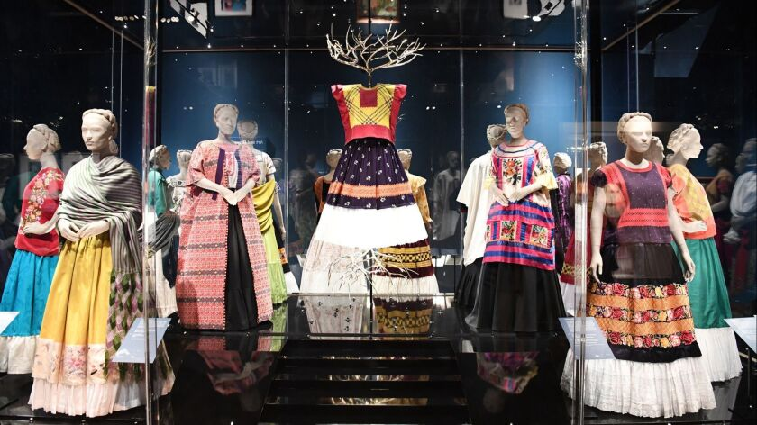 Clothing worn by Mexican artist Frida Kahlo is displayed during a media preview of the exhibition 'Frida Kahlo: Making Her Self Up' at the Victoria and Albert Museum in London.