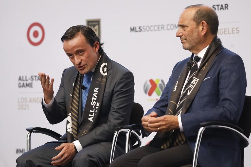 Don Garber, right, Commissioner of Major League Soccer MLS with Mikel Arriola, left, LIGA MX president.