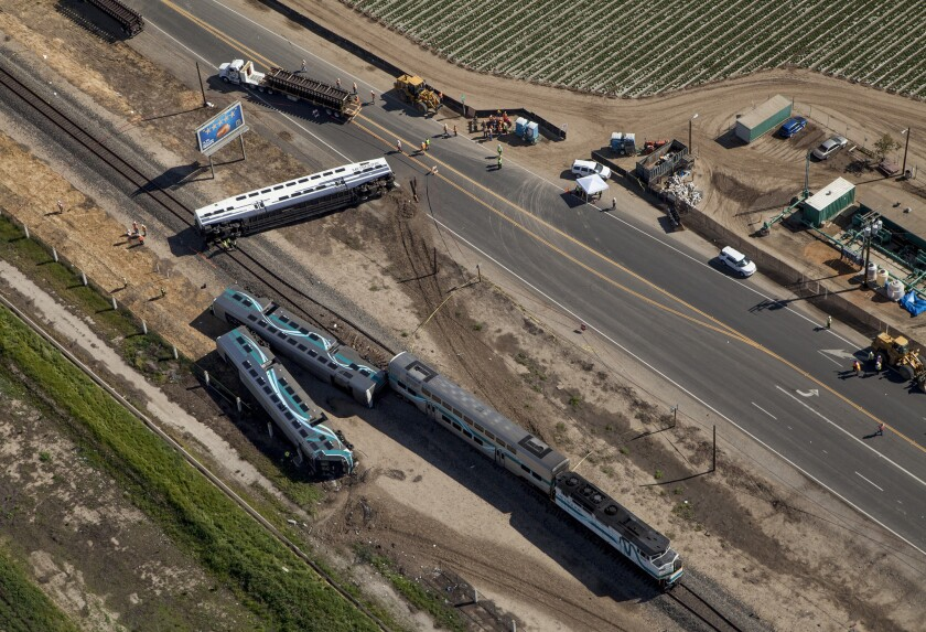 Aerial view of the Metrolink train derailment in Oxnard. The crash occurred at the Rice Avenue crossing, causing three cars to derail and injuring at least 28 people.