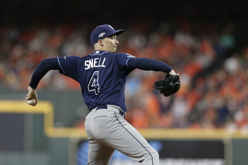 The Tampa Bay Rays' Blake Snell pitches against the Houston Astros during Game 5 of the 2019 ALDS.