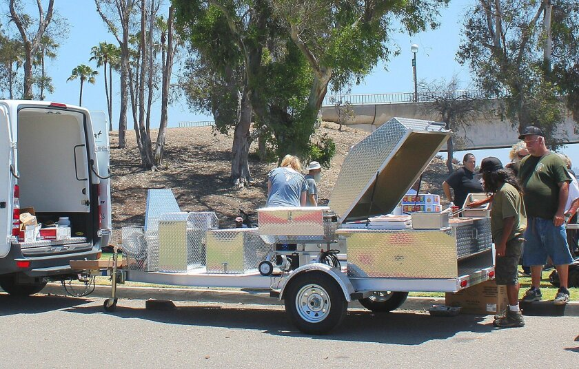 The barbecue-trailer gifted to So Others May Eat (SOME) by the Kiwanis Club of La Jolla was custom-made in Georgia.