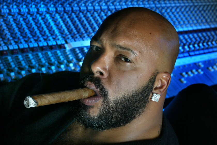 "Marion ""Suge"" Knight inside his recording studio in 2002, at about the time he sold a proposed book that was never published."