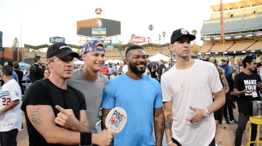 Diplo, Joc Pederson, Howie Kendrick and Austin Rivers attend Dodgers ace Clayton Kershaw's Ping Pong 4 Purpose celebrity tournament.