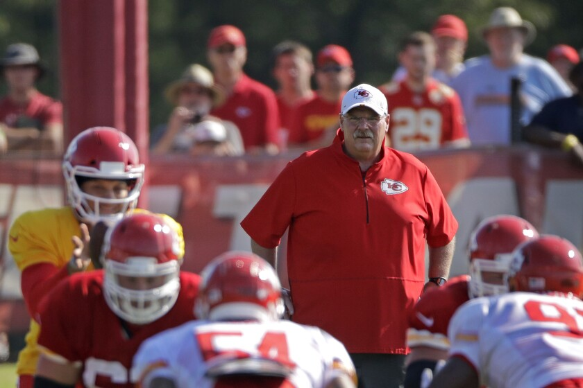 Kansas City Chiefs head coach Andy Reid watches a drill during training camp last season.