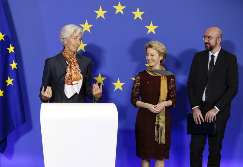 From left, European Central Bank President Christine Lagarde, European Commission President Ursula von der Leyen and European Council President Charles Michel attend an event to mark the 10th anniversary of the entry into force of the Lisbon Treaty at the House of European History in Brussels, Sunday, Dec. 1, 2019. (AP Photo/Olivier Matthys)