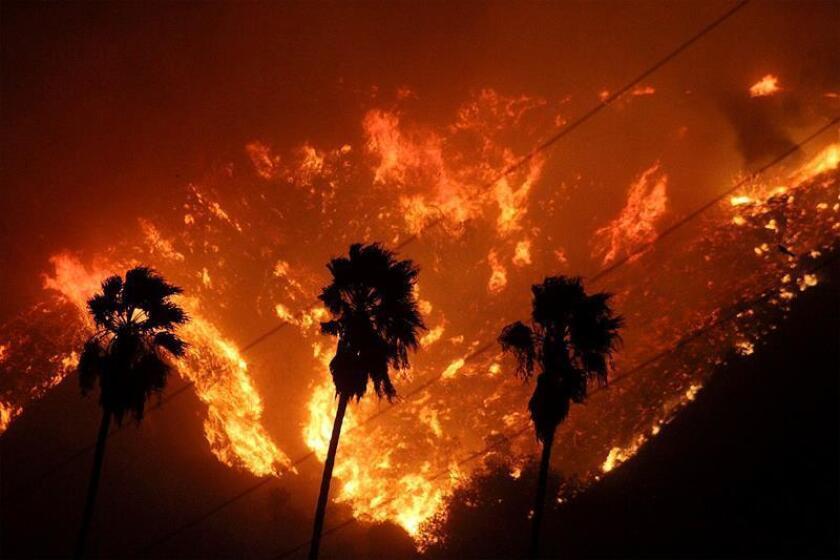 Vista de un voraz incendio en el condado de Ventura, California, Estados Unidos. EFE/ Bomberos Del Condado De Ventura SÓLO USO EDITORIAL/PROHIBIDA SU VENTA