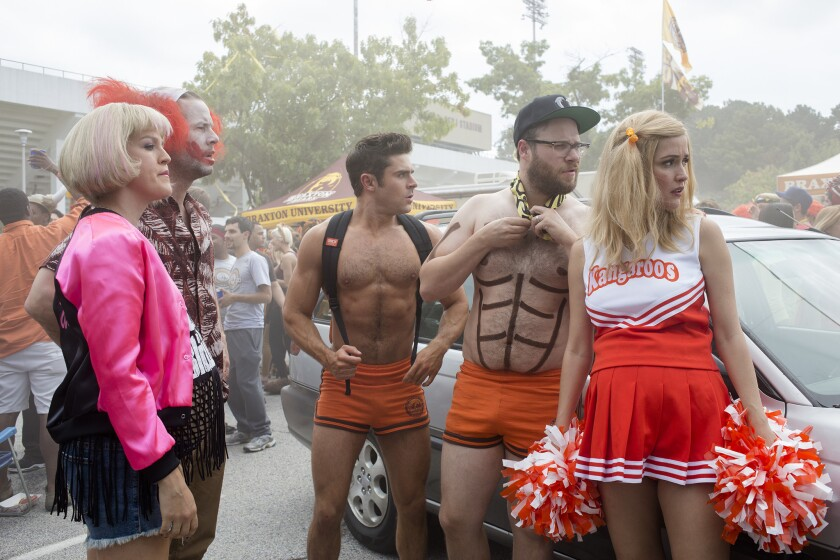 "From left, Carla Gallo, Ike Barinholtz, Zac Efron, Seth Rogen and Rose Byrne in ""Neighbors 2: Sorority Rising."""