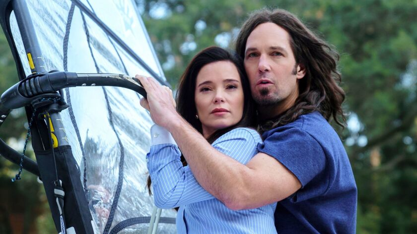 "Marguerite Moreau and Paul Rudd are camp counselors reunited, supposedly in their mid-20s, in the Netflix series ""Wet Hot American Summer: Ten Years Later."""