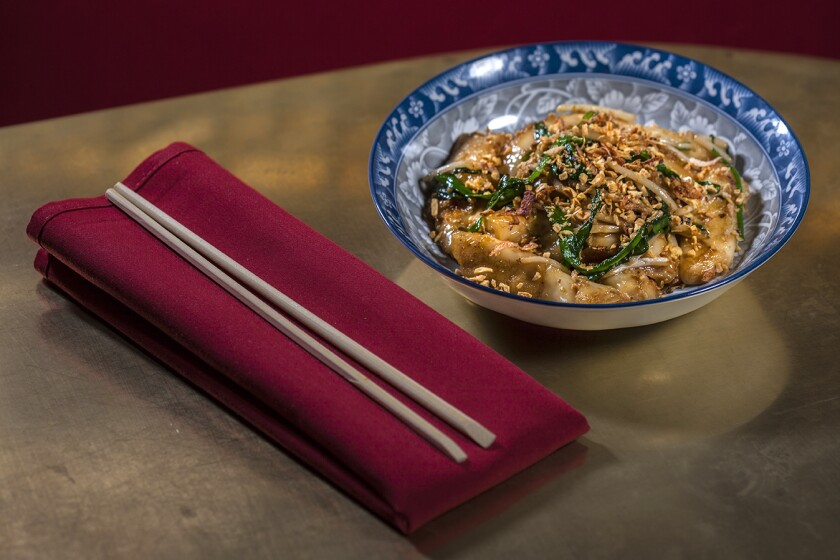 XO Fatty noodles with bean sprouts, garlic chives, XO sauce, crispy garlic and shallots at the Formosa Café