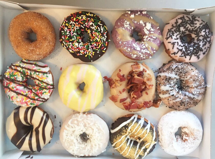 A selection of just-decorated Duck Donuts.