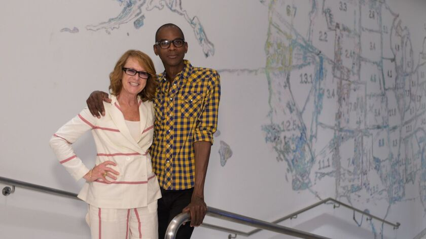Hammer Museum director Ann Philbin with painter Mark Bradford in 2015.