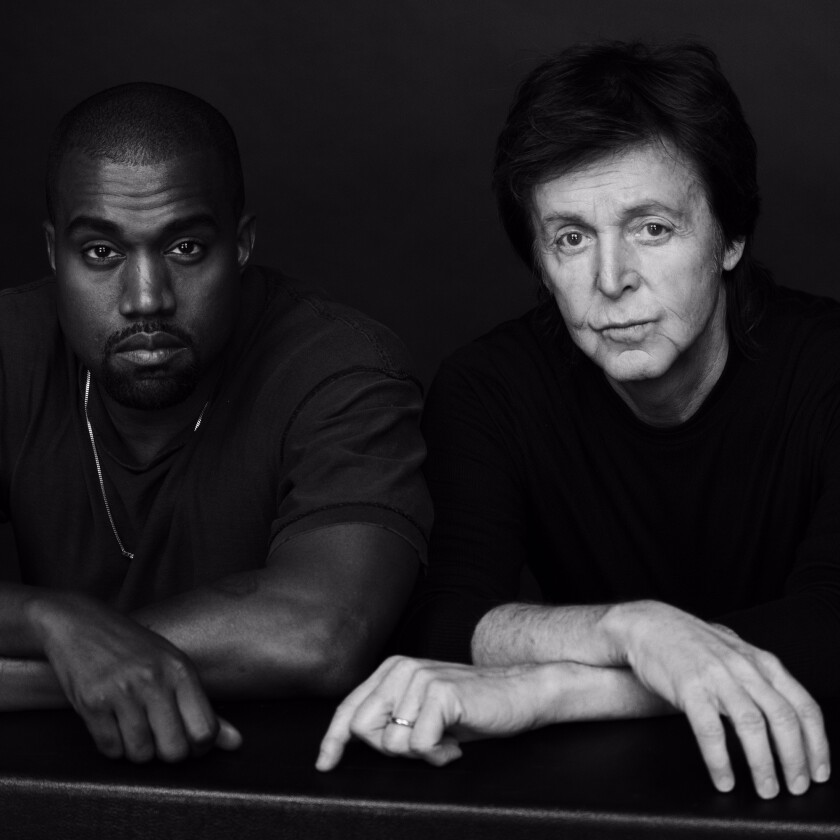 """Kanye West and Paul McCartney collaborated on """"Only One,"""" West's new track."""