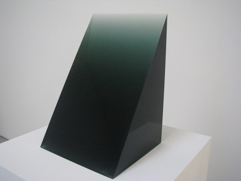 """""""Green Wedge,"""" 1969 by Peter Alexander — as seen in the Light and Space exhibition """"Primary Atmospheres"""" at David Zwirner gallery in New York in 2010."""
