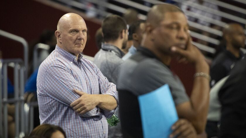 LOS ANGELES, CALIF. -- MONDAY, OCTOBER 8, 2018: L.A. Clippers owner Steve Ballmer, left, and coach D