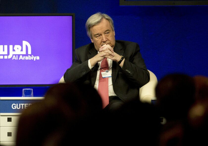 """The head of the U.N.'s refugee agency Antonio Guterres takes part in the """"Responding to the Refugee Crisis"""" session of the World Economic Forum, at the King Hussein convention center, Dead Sea resort of Southern Shuneh, Jordan, Saturday, May 23, 2015. (AP Photo/Nasser Nasser)"""