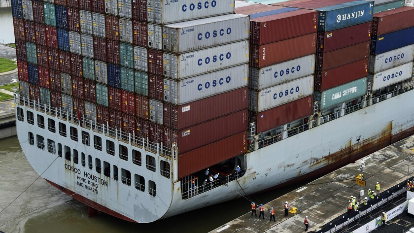 The cargo ship Cosco Houston during a test at the Panama Canal.