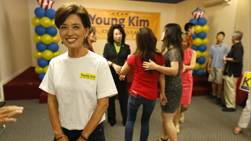 ROWLAND HEIGHTS, CA - AUGUST 25, 2018 - Former California Assemblywoman Young Kim, left, who's runni
