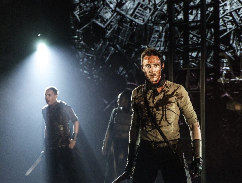 "Tom Hiddleston in Shakespeare's ""Coriolanus"" at London's Donmar Warehouse."
