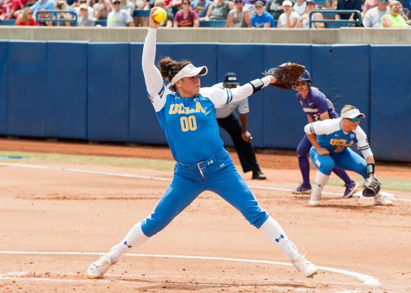 UCLA pitcher Rachel Garcia delivers against Washington.