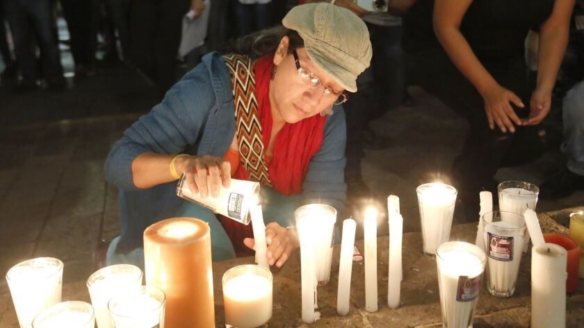 Three Mexican film students who were kidnapped and killed are remembered at a shrine erected outside the Jalisco state governor's residence in Guadalajara.