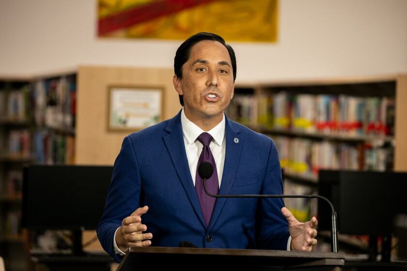 In this January file photo, Mayor Todd Gloria delivers his first State of the City address at the San Ysidro Branch Library.