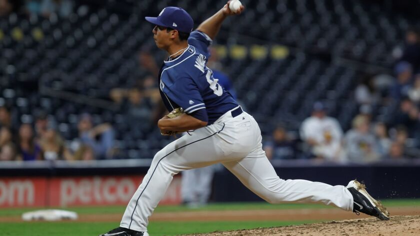 SAN DIEGO, CA September 30th, 2017 | Padres minor leaguer Andres Munoz pitches during their game against Texas Rangers on Saturday in San Diego on Sept. 30, 2017.
