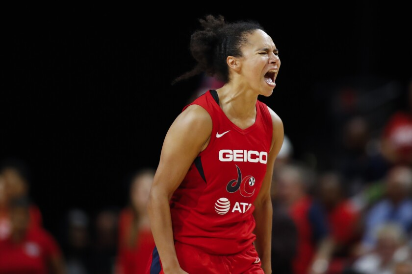 Washington Mystics guard Kristi Toliver reacts during Game 5 of the 2019 WNBA Finals against the Connecticut Sun.