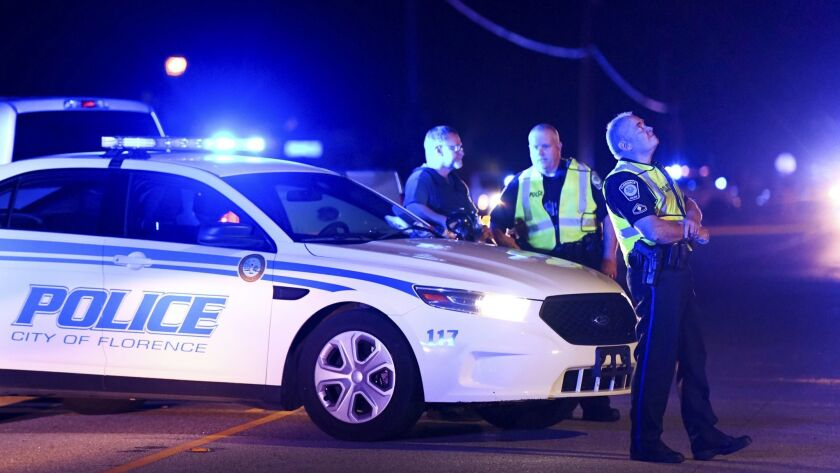 Authorities near the scene Wednesday in Florence, S.C., where several law enforcement officers were shot, one fatally.