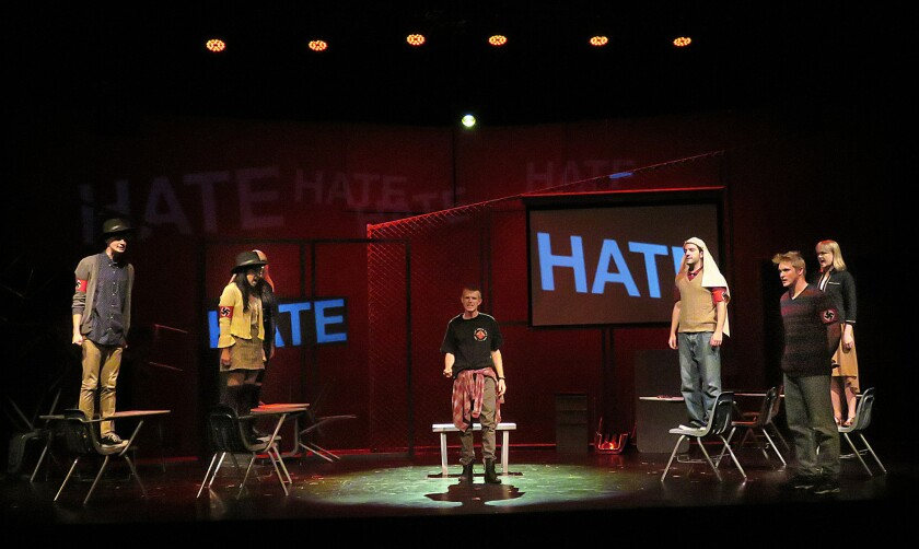 """Students rehearse a scene from California Lutheran University's production of the play """"columbinus."""""""