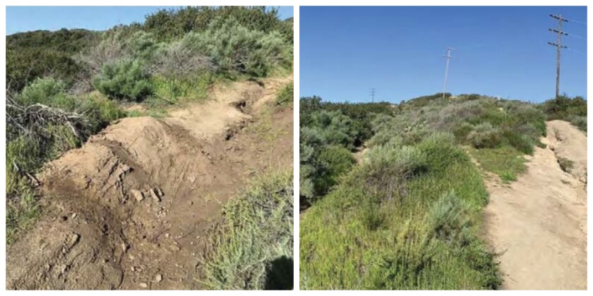 Images of a bike berm and trail to be closed in the Pacific Horizon Preserve in Laguna Beach.