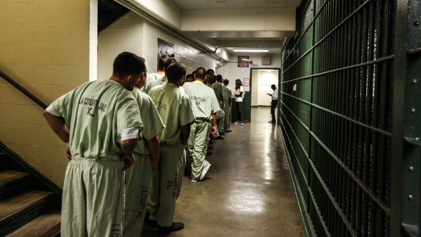 LOS ANGELES, CA--FEBRUARY 12, 2017: A line at the Men's Central Jail forms as inside the general are